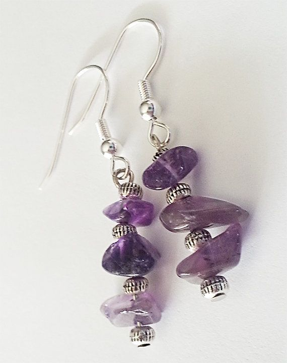 Amethyst Gemstone Chip Dangling Earrings by GracefulServices, $10.00