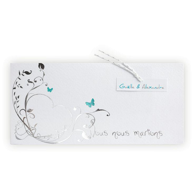 Faire part mariage blanc & argent: 2 Papillons bleus sur coeur argent JH3238