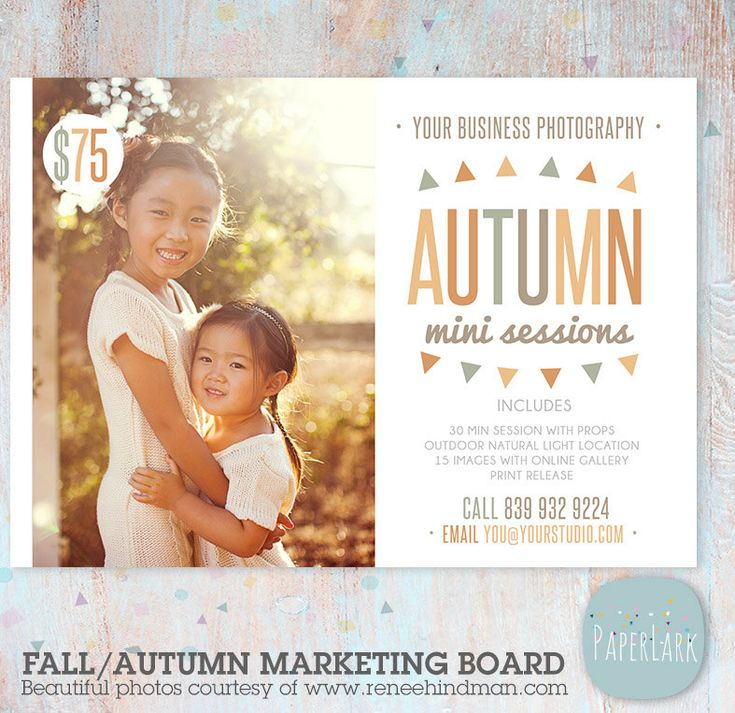 Fall Mini Session Marketing Board - Photoshop template - IW018 - INSTANT DOWNLOAD by PaperLarkDesigns on Etsy