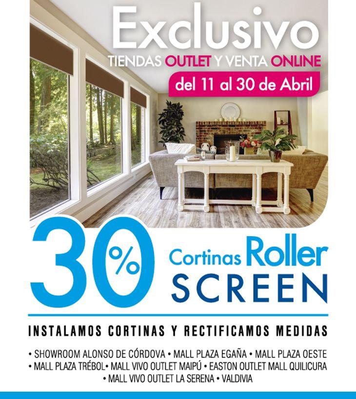 No te quedes sin tu cortina Roller!! Aprovecha el 30% de descuento en todas las cortinas roller Screen.