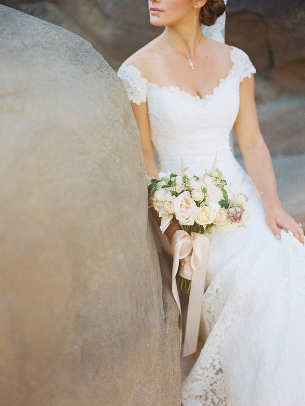 Lace Cap Sleeve Wedding Dress | Danielle Poff Photography | Effortlessly Chic Sparkling Neutral Wedding
