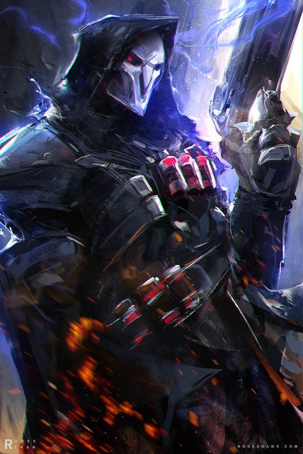 "Reaper Overwatch by rossdraws | ""Hey guys! I was commissioned by Blizzard to create a Portrait of Reaper for their game Overwatch!! Illustrating Reaper was an enjoyable experience for me. His essence really came through his design which helped me create this piece for him."" —RossDraws"