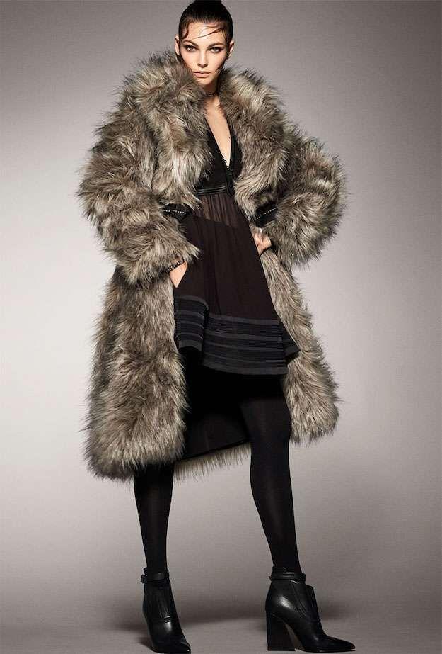 Zara colección otoño invierno 2017: fotos mejores modelos - Look en negro con abrigo de pelo Zara