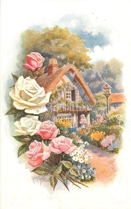 Открытки с днем рождения с домиком, дизайн открытки