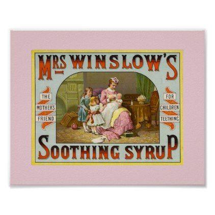 #Vintage Teething Medicine Mrs. Winslow's 1845 Poster - #nurseryart #nursey #art #baby #cute #print #babies