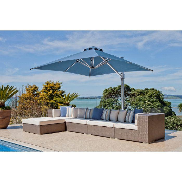Frankford Umbrellas 10 Ft. Square Commercial Grade Eclipse Cantilever Umbrella  Patio Umbrella Set With Deck