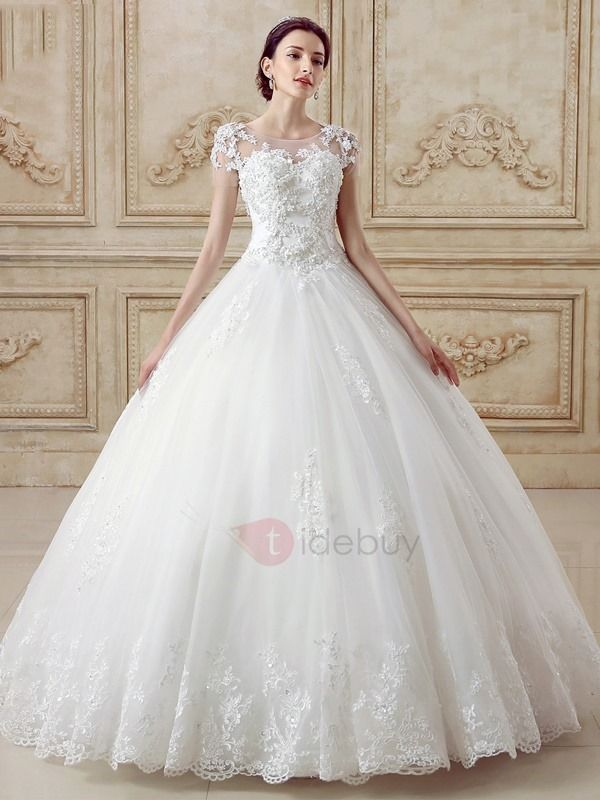 Tidebuy Offers High Quality Illusion Back Short Sleeve Ball Gown Cathedral Wedding Dress