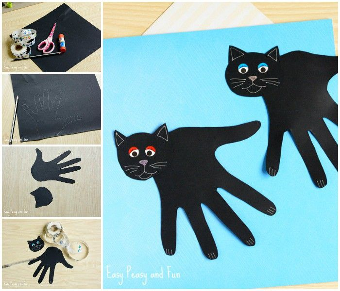 Cute Handprint Black Cat Craft for Kids