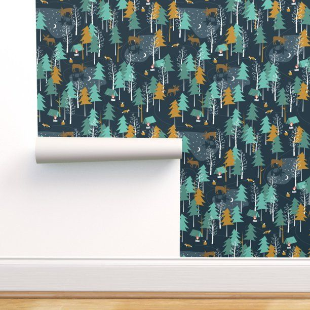 Peel And Stick Removable Wallpaper Woodland Camping Nature Outdoors Moose Fox Walmart Com Woodland Wallpaper Self Adhesive Wallpaper Removable Wallpaper