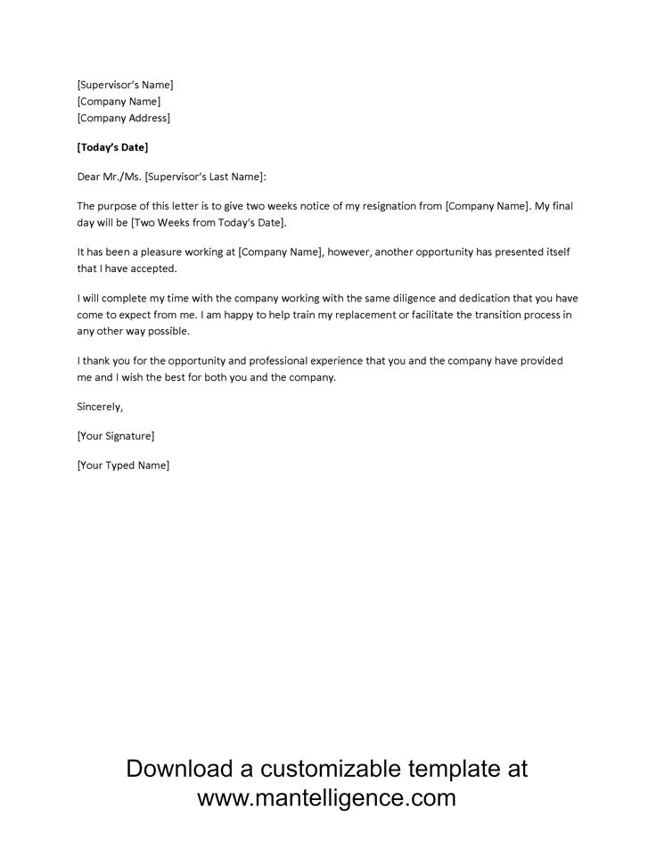 2 Week Resignation Letter 6 7 Two Weeks Notice Quitting Ontario