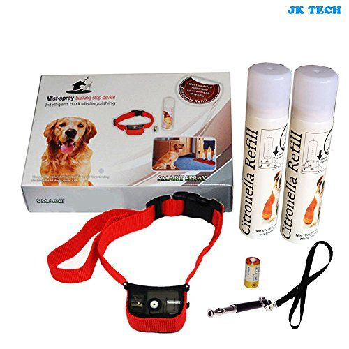JK TECH No Bark Mist Spray Dog Training Collar with 2 BottlesHumane and Safe Pet Citronella Anti Bark Collar with Dog Training Whistle Lanyard Strap for Small Medium Large Dogs Battery Included >>> Read more  at the image link.