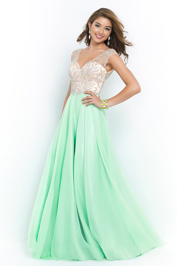 2015 V Neck Prom Dresses A Line Beaded Bodice Sweep Train Chiffon And Tulle --- maybe a different color but this is pretty