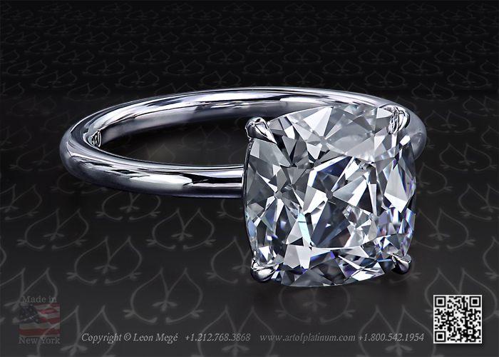 True antique cushion diamond set in a platinum solitaire engagement ring by leon mege 2.54 ct