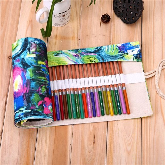 【 $5.80 & Free Shipping / Coupons 】Modern Abstract Painting Canvas Roll Up Pencil Case Handmade Bag Brush Storage Holder School Supply | Buying & Reviews on AliExpress