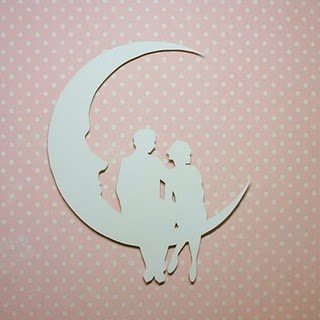 Paper moon with couple... I bet these templates could be turned into cutting files for digital cutters!