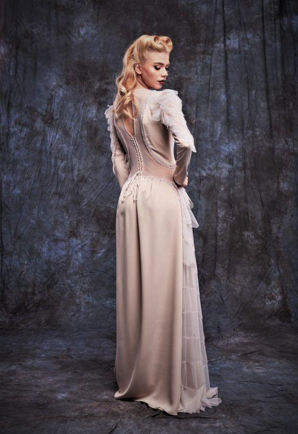 Rochie de seara lunga ivory cu maneci lungi-32R_spate