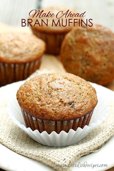 Make Ahead Bran Muffin Recipe   The batter can be made and kept in the refrigerator for up to 4 weeks!  Which means you can have freshly baked bran muffins any time!