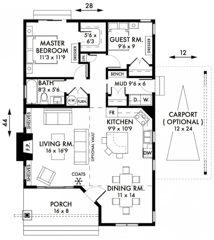 Awesome two bedroom house plans cabin cottage house plans floorplan with small bath and a - Plan of a two bedroom house ...