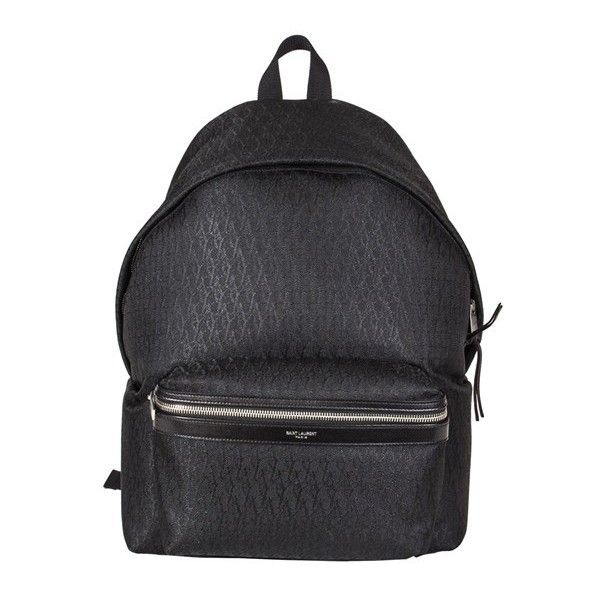 Saint Laurent Paris Black Monogram Backpack found on Polyvore featuring bags, backpacks, black, leather rucksack, black bag, leather bags, leather daypack and black leather bag