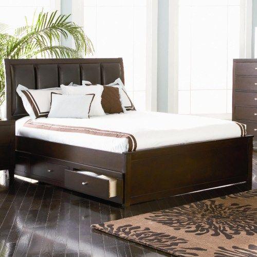 Coaster Lorretta King Contemporary Platform Style Storage Bed - Coaster Fine Furniture