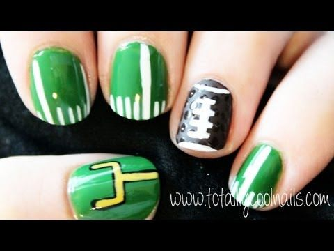 Football nail art. Perfect for the Super Bowl!