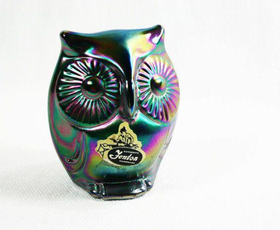 SALE Vintage Fenton Blue Carnival Glass Owl Mint Condition Etsy Treasury Item