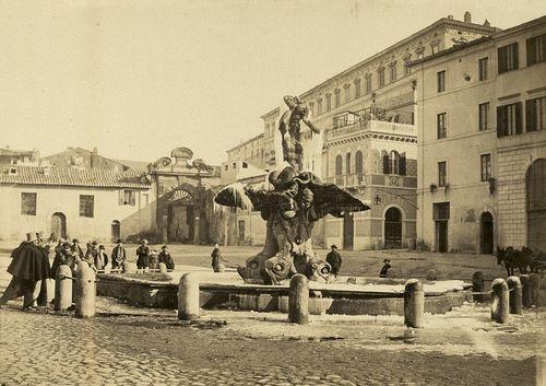 View of Fontana del Tritone, Piazza Barberini in winter 1863 (ca)