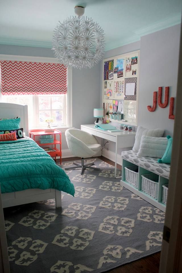 Older girl's / tween / teen bedroom. Mint + pink + grey + white