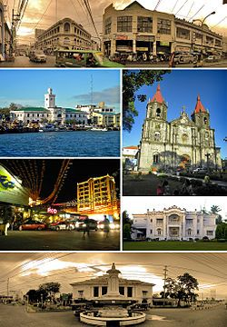 From top, left to right: Calle Real – Iloilo City's historic city center, The Aduana/Customs House of Iloilo and Muelle Loney, Saint Anne Ch...