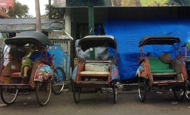 Becak (Rickshaws) in Yogyakarta Indonesia