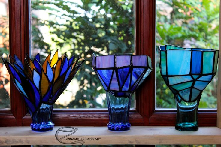 Variations in different shapes and blue colors  #czinamon #czinamonglassart #candelholder #friends #follow #followme #instalike #instamood #beauty #pretty #work #cool #phothography #sweet #nice #funny #present #idea #good #goodforgift #awesome #lol #photo #tiffany #tiffanyart #renewed #mcdonalds #cup