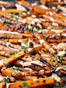 Grilled Carrot Fries with Chipotle Lime Aioli | The Gourmet RD