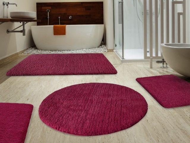Shag Maroon Red Bathroom Rugs