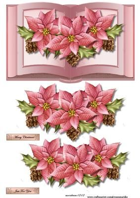 Pink poinsettias book on Craftsuprint designed by Marijke Kok - Great card for christmas,very elegant and so beautiful... - Now available for download!