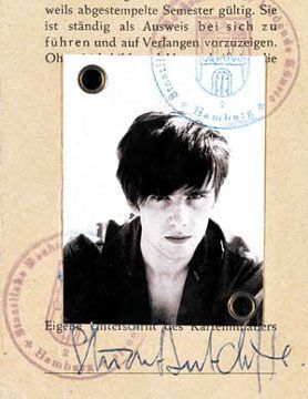 Beatles' bassman Stuart Sutcliffe's german ID card. He stayed behind in Hamburg after the other Beatles had returned to Liverpool, to be with his girlfriend Astrid. He died in Hamburg of a brain haemorrage on April 10,1962 at the age of 21.
