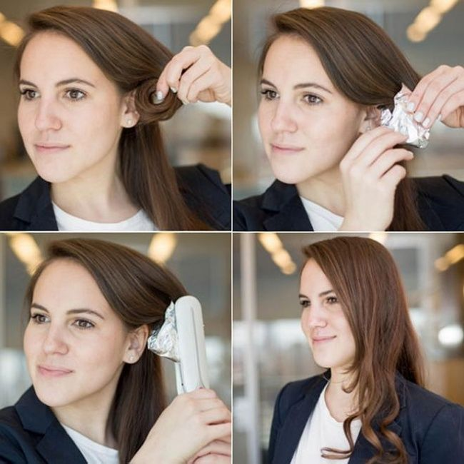 Если на ваших волосах кудри не держатся вообще, можно прибегнуть к этому методу. Закрутить локон, обернуть его фольгой и подержать под утюжком для волос. Локоны получатся практически «неубиваемые»