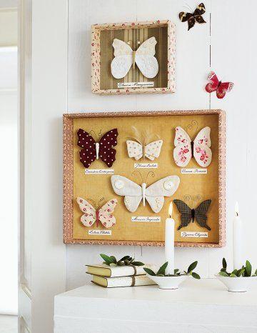 Des papillons en bouts de tissus / butterfly with peace of fabrics, decoration set, picture