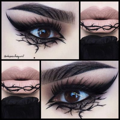 Thorn make-up by Psycho Path. I'm not that much into the lips, but the eyes look gorgeous! It would be perfect to match some evil character...
