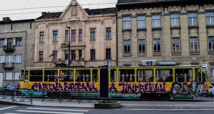 Graffiti art on Cluj's tram