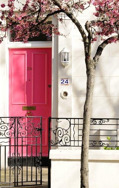 Rasberry pink front door with cream stucco exterior paint~Dark bronze iron fixtures
