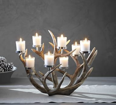 Antler Multi-Votive Centerpiece #potterybarn                                                                                                                                                                                 More