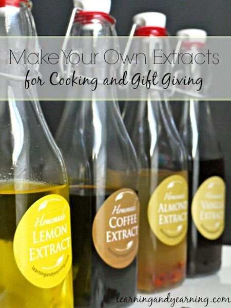 Good quality extracts can make such a difference in cooking! Baking sugar cookies? Vanilla is wonderful, but add some almond extract and now you really have a special treat. Or a touch of orange extract in the frosting on a chocolate cake. Pure extracts can be pricey, but you can easily make them at home for a lot less. Package them in attractive jars, and you have a unique item for gift giving.
