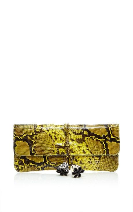 Pineapple Python Jimmy Clutch by Jill Haber for Preorder on Moda Operandi