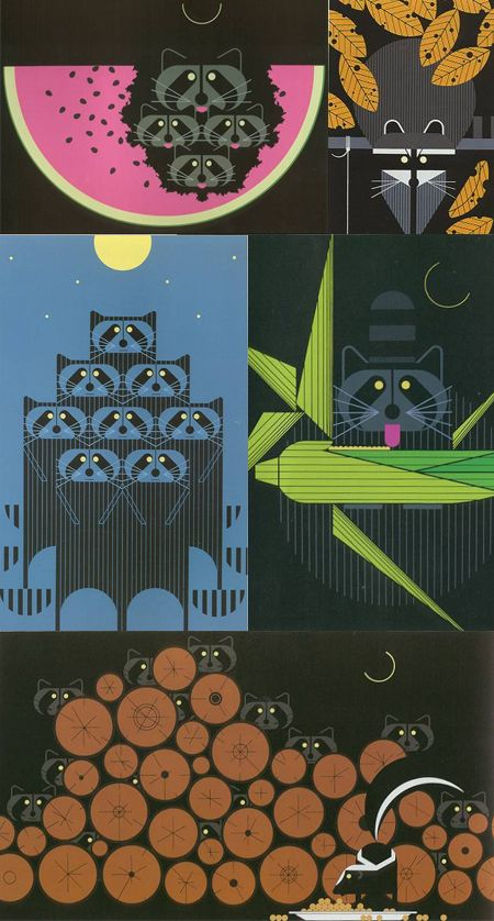 Garbage and Raccoons: Raccoons are smart, make sure your trashcan lids are tightly sealed and double bag trash to cover up any smells that attract them.  Charley Harper, a WV Native loved to create artwork of raccoons| The Apartment