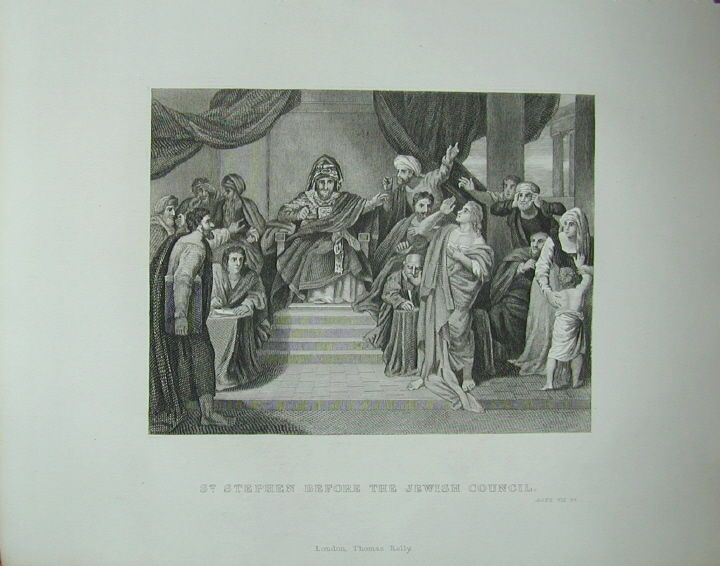 St Stephen Before Jewish Council Religious Print 1851