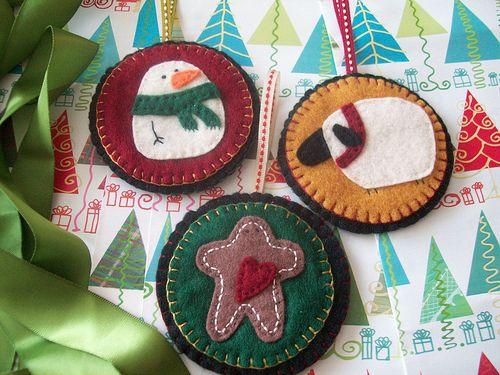 primitive christmas ornaments by LookHappyShop, via Flickr
