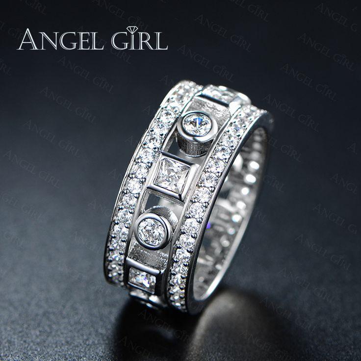 Angel Girl 2016 Simple Geometric Design Paved CZ Diamond Engagement Wedding Rings White Gold Plated Bijioux Ring for Women 2016