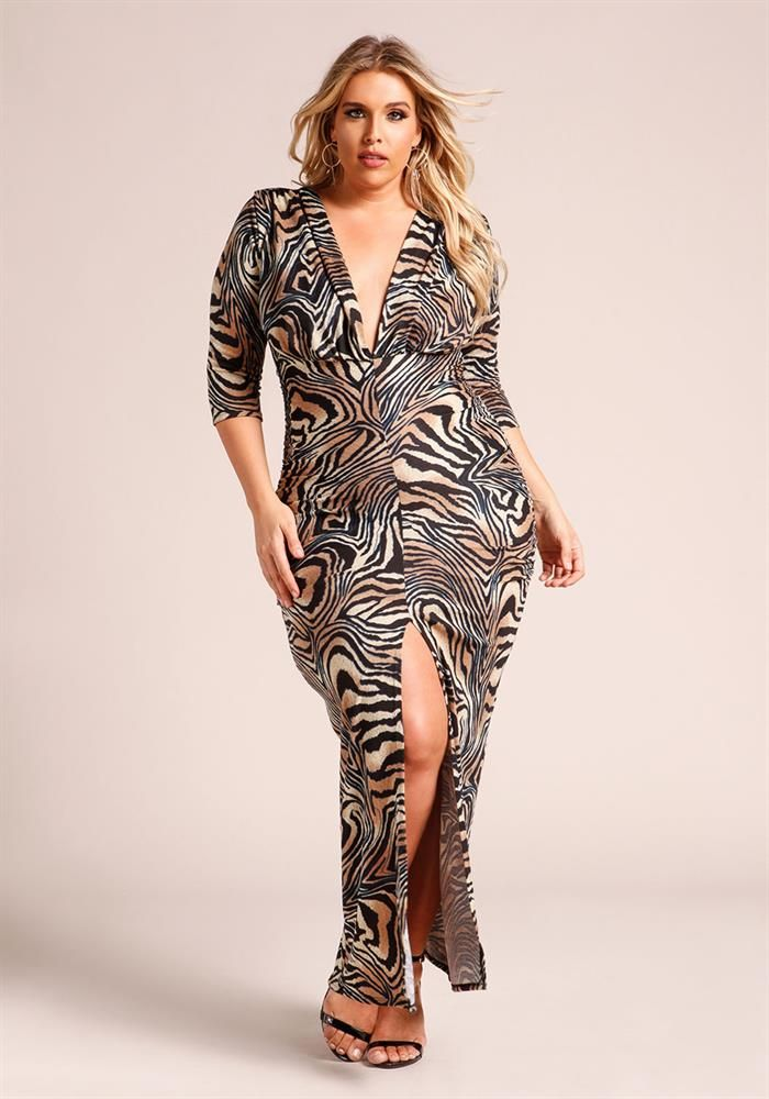 Plus Size Clothing   Plus Size Animal Print Plunge Slit Maxi Dress   Debshops