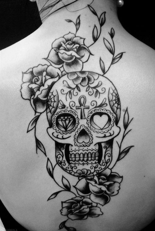 Candy Skull And Rose Tattoos For Girls
