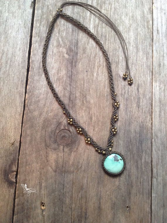 Micro macrame necklace small tibetan turquoise - Custom order - boho jewelry micro-macrame necklace tribal